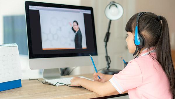 Child being remote tutored